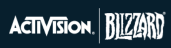 Activision Blizzard logo and latest earnings report.