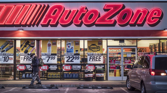 Autozone store front at night