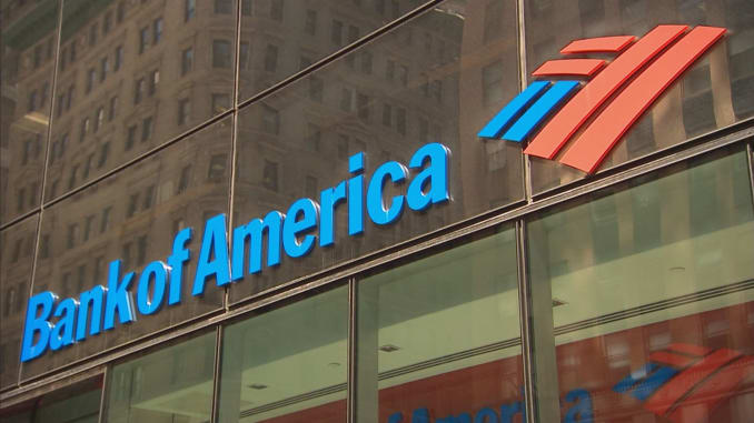 Bank of America logo against one of their branches