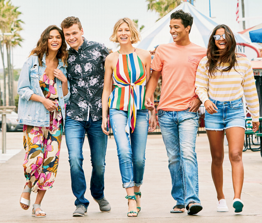 A group of young people wearing apparel from Buckle