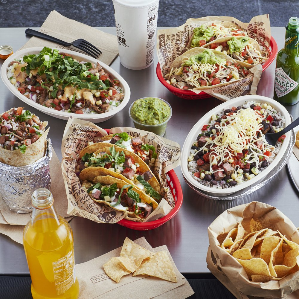 An assortment of Chipotle dishes