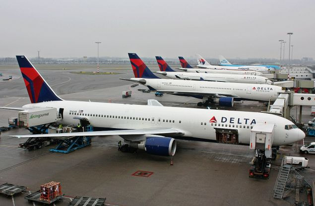 Delta Airlines planes at boarding gates