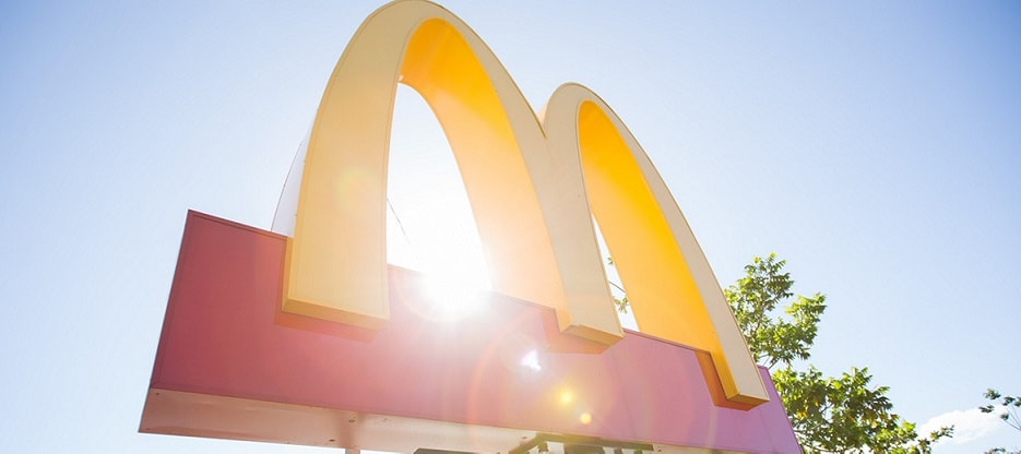 Mcdonalds logo and latest earnings report.