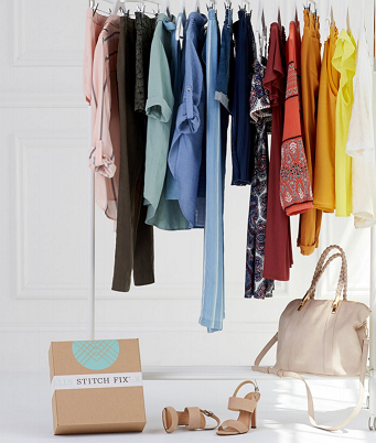 Stitch Fix garments and handbags and delivery box